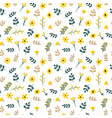cute floral seamless pattern with leaves and vector image