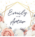 floral wedding invite card design with flower vector image