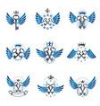 old turnkey keys emblems set heraldic design vector image