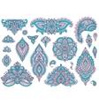 Big set of colorful henna floral elements vector image