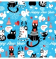 Christmas pattern with cheerful cats vector image