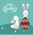 happy easter bunnies playing egg chocolate vector image