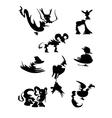 Lines of animals cartoon vector image
