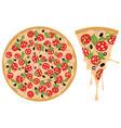 cartoon tasty pizza vector image vector image