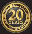 20 years happy anniversary congratulations gold vector image vector image