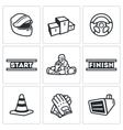 Set of Karting Icons Helmet Pedestal vector image