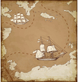 Ancient map with ships vector image
