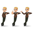 blonde businessman in brown suit leaning against vector image