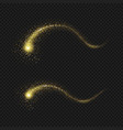comet gold tail glittering stars dust trail vector image