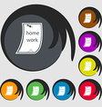 Homework icon Symbols on eight colored buttons vector image