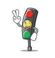 two finger traffic light character cartoon vector image