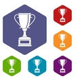 Winning gold cup icons set vector image