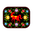 Gorodets painting red horse and floral elements vector image