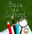 Blackboard with colorful school supplies vector image vector image