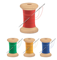 Spools of thread with needle vector image
