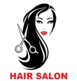 hair salon icon with woman face vector image vector image