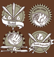Sketch baseball emblems vector image