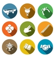Billiard flat icon collection vector image