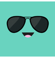 Face with black pilot sunglassess Happy emotion vector image