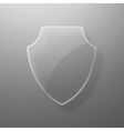 Glass shield on a gray background eps10 vector image