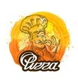 pizza restaurant logo design template chef vector image