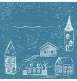 Winter card with doodle houses vector image