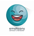 blue emoticon laughing closed eyes icon vector image