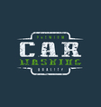 Car washing badge with shabby texture vector image