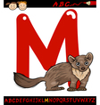 letter m for marten cartoon vector image