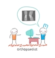 orthopaedist tells the patient about an x-ray vector image vector image