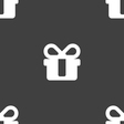 gift icon sign Seamless pattern on a gray vector image