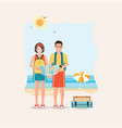 couple of tourist together on a trip world travel vector image