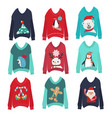 cute ugly christmas sweaters set sweater party vector image