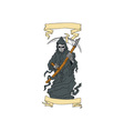 Grim Reaper Scythe Scroll Drawing vector image