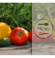 Menu on the background of vegetables vector image
