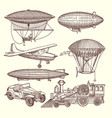 set of machines in steampunk style vector image