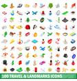 100 travel landmarks icons set isometric 3d style vector image