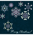 Christmas dark background with snowflakes vector image vector image