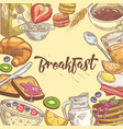 healthy breakfast hand drawn design with sandwich vector image