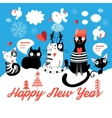 Christmas card with cheerful cats vector image
