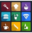 Kitchen flat icons set 23 vector image