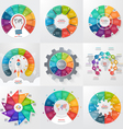 set of 9 circle infographic templates with 10 vector image