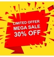 Big sale poster with LIMITED OFFER MEGA SALE 30 vector image
