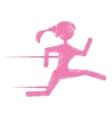 silhouette girl running jogging sport vector image