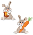 Cartoon Bunny with Big Carrot and Painted Egg vector image
