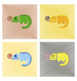 assembly flat shading style icons reptile vector image