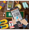 sport activity application in smartphone vector image vector image