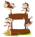 Monkeys playing with the empty signboard vector image vector image
