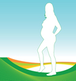 pregnant girl with green outline vector image