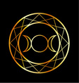 Gold Wiccan symbol Triple Goddess vector image